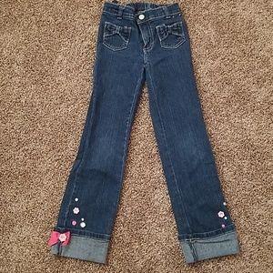 Gymboree 7 slim girls decorative bow pants